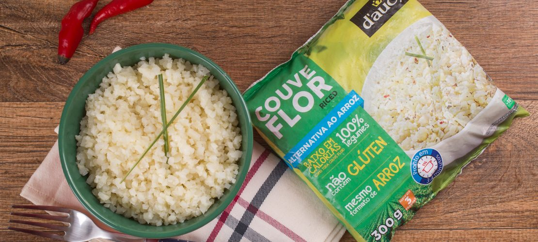Imagem do produto e pacote do arroz de couve-flor daucy